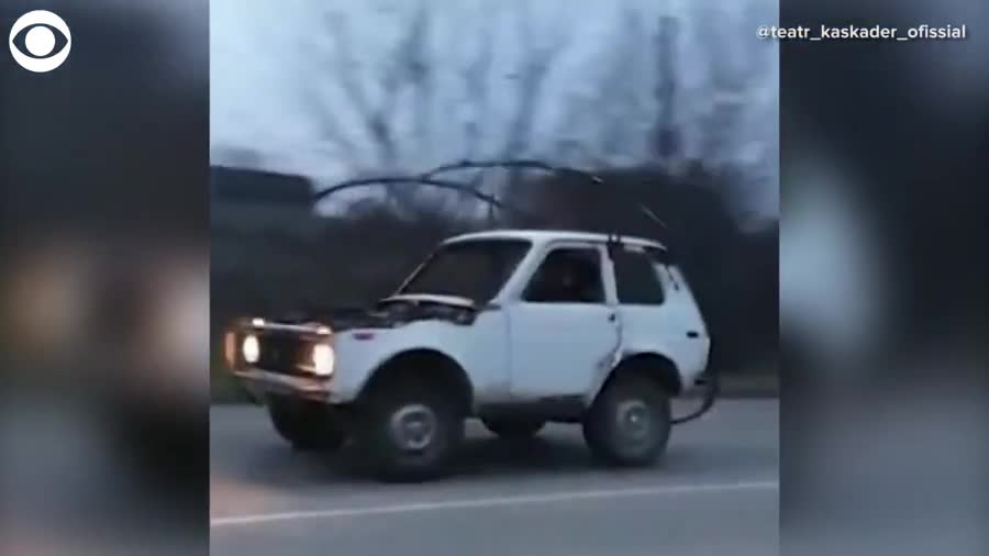 """Meanwhile in Russia. .. ah, the new """"Phone Finder"""" roll cage. use this instead of reaching under your seat while driving. so much safer."""