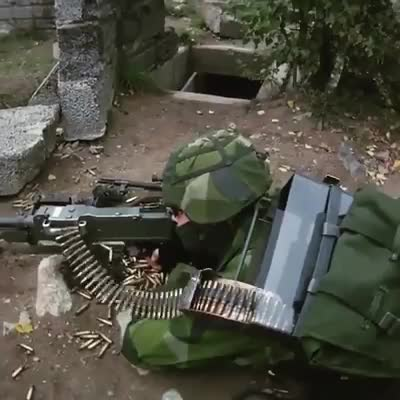 KSP58 with prototype ammo backpack. KSP58 | SAW M240 . The amo backpack is a private prototype . Holds Aprox. 700 rounds https://www.facebook.com/18405358928913